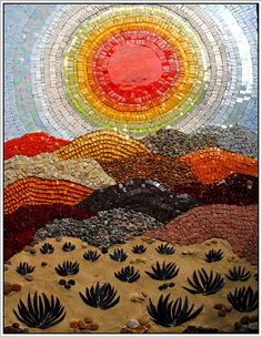 """mosaic Desert scene- Mosaic created by mosaic artist Leena Nio A lovely mosaic! Children could do several monochromatic mosaic circles around the sun and then choose a deep brown, black or """"carmel"""" sand colour for the sand hills. Tile Art, Mosaic Art, Mosaic Glass, Mosaic Tiles, Mosaic Mirrors, Mosaic Garden, Mosaic Crafts, Mosaic Projects, Art Projects"""