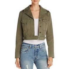 Fillmore Eisenhower Cropped Jacket ($180) ❤ liked on Polyvore featuring outerwear, jackets, olive, military jackets, army green military jacket, olive jacket, military inspired jacket and olive green military jacket