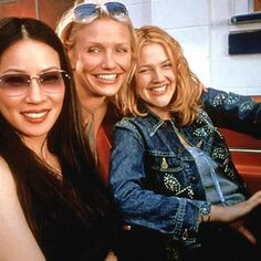 Lucy Liu, Cameron Diaz and Drew, set of Charlie's Angels
