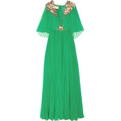 Gucci Embellished plissé silk-chiffon gown ($20,680) ❤ liked on Polyvore featuring dresses, gowns, gucci, green, beaded silk chiffon gown, beaded dress, floral print evening gown, green ball gown and embellished gown