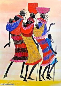 African art - by Cris Figueired♥ African Artwork, African Paintings, African Artists, South African Art, African American Art, Africa Art, African Culture, Wildlife Art, Tribal Art