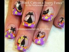 ▶ Black Cats on Starry French Nails - YouTube - Nail art by Robin Moses