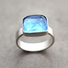Swiss Blue Topaz Ring, Aqua Blue Stone Recycled Argentium Sterling Silver