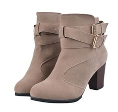 King Ma Womens Fashion Side Zipper Chunky Heel Short Boots >>> Learn more by visiting the image link.
