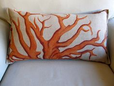ORANGE Coral on linen Large Sofa Pillow 13x25