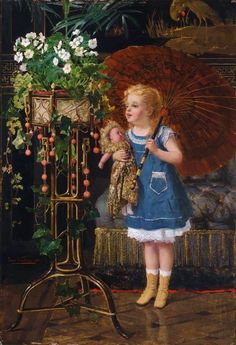 "Girl with a doll and umbrella"" - Jan Francois Verhas (1834-1896)"