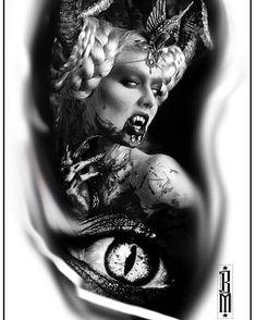 #women #vampire #vampiretattoo #zombietattoo #zombie #eye #eyetattoo #blackandgreytattoo #blackandgrey #digitaldesign #design #tattoodesign
