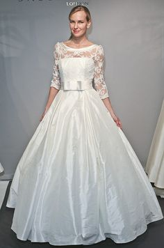 A #wedding dress with lace sleeves from Sassi Holford, 2012. Would like with different material on bottom and trade bow for colored sash