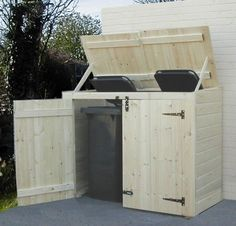 Now You Can Build ANY Shed In A Weekend Even If You've Zero Woodworking Experience! Start building amazing sheds the easier way with a collection of shed plans! Garbage Can Storage, Garbage Shed, Garbage Recycling, Pool Storage, Recycling Bins, Diy Storage, Trash Can Storage Outdoor, Storage Bins, Pallet Pool