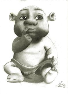 Shrek Baby by ZoinksScoob Cartoon Sketches, Disney Sketches, Disney Drawings, Drawing Sketches, Art Drawings, Shrek Drawing, Baby Drawing, Shrek Character, Character Drawing