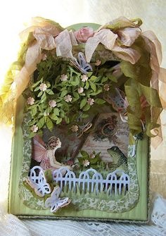 Tattered Treasures: Graphic 45 'Once Upon a Springtime' Fairy Garden Shadow Box