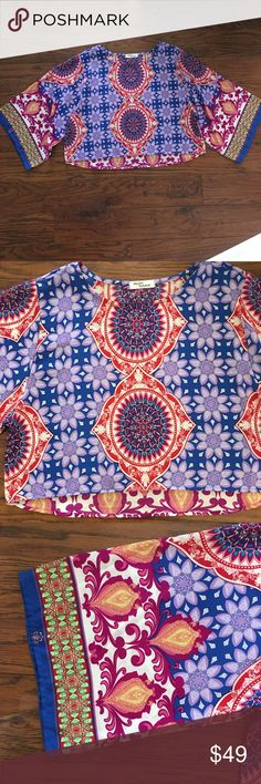 🎉HP🎉 Francesca's Collections Print crop top✨ EXCELLENT Condition ✨ Only wore 2 times 100% Polyester  Machine washable / Tumble dry Pair with white denim and heels 🎀 🇺🇸 MADE IN THE USA 🇺🇸 Reasonable offers accepted No Trades - No PP Francesca's Collections Tops Crop Tops