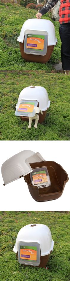 Litter Boxes 100411: Favorite Portable Enclosed 24-Inch Cat Litter Box Kitty Litter Pan Brown,Xl BUY IT NOW ONLY: $53.99