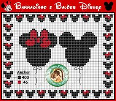 Cross Stitch Mickey and Minnie Balloon Chart
