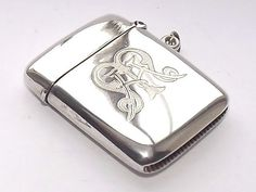 SUPERB ANTIQUE EDWARDIAN HM SOLID SILVER STERLING SILVER VESTA CASE CHESTER 1904 #HenryGriffithSonsLtd