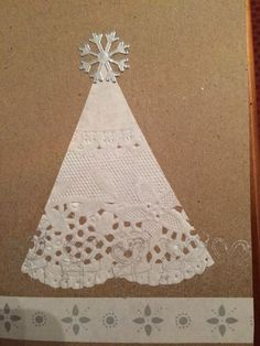 Christmas card DIY craft lace paper silver white stamp washi