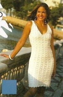 White Strap Dress free crochet graph pattern