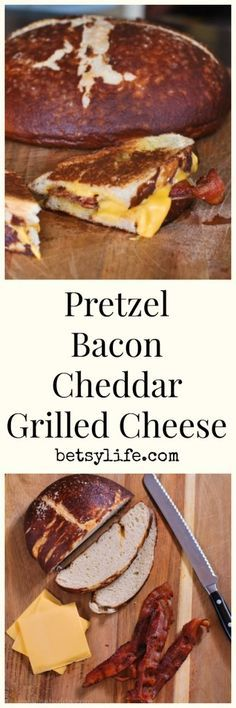 Pretzel Bacon Cheddar Grilled Cheese Sandwich Recipe. Take your grilled cheese to the next level!