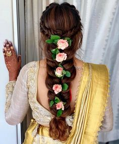 Looking for bridal hair inspiration? Braided hair with with roses as an accessory are sure to make heads turn. Hair by - Bridal Hairstyles Bridal Hairstyle Indian Wedding, Bridal Hair Buns, Bridal Braids, Bridal Hairdo, Indian Bridal Hairstyles, Braided Hairstyles For Wedding, Elegant Hairstyles, Hairdo Wedding, Wedding Bride