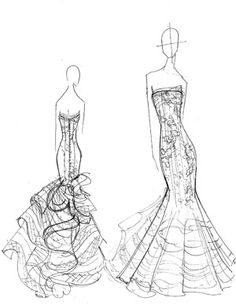 sketching the wedding gown