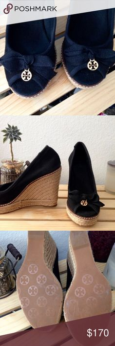 "Authentic Tory Burch Black Jackie Espadrille Wedge Black canvas with a natural waxed jute sole and espadrille wedge (4.25"" heel, .75"" platform). Flattering peep toe with black bows and signature gold Tory Burch logo charms. Gorgeous with everything. Runs small - these are a size 8.5 but are better for 7.5/8 since they do not stretch. Bottoms are scuffed from sitting in my closet, never worn because they are too small. Tory Burch Shoes Wedges"