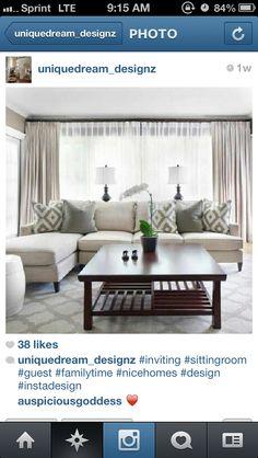 #instagram #home #interiors #glam #design #clean #classy #classic #livingroom #cream #grey #curtains