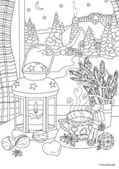 Adult Coloring Pages Winter Beautiful Christmas Joy Winter Night Printable Adult Coloring Coloring Pages Winter, Coloring Book Pages, House Colouring Pages, Colouring Sheets For Adults, Christmas Coloring Sheets, Coloring Pages Inspirational, Printable Adult Coloring Pages, Winter Night, Winter Holiday