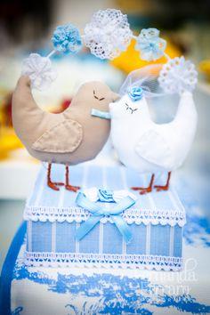 Decoração de casamento azul com amarelo