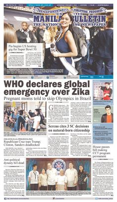 #20160203 #PHILLIPINES #MANILA #ManilaBulletin Wednesday FEB 3 2016 http://www.newseum.org/todaysfrontpages/?tfp_show=80&tfp_page=12&tfp_id=PHI_MB