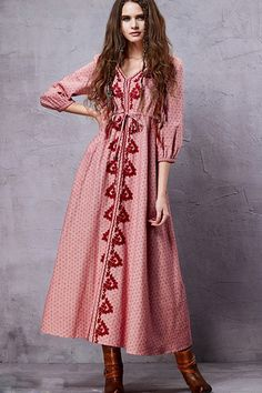 National Wind Print Embroidery Lace-up Waist Dress - OASAP.com