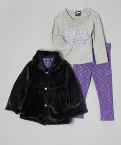 Make+dressing+for+the+day+a+fuss-free+affair+with+this+conveniently+coordinated+set.+Complete+with+a+soft,+stylish+faux+fur+jacket,+an+adorably+embellished+top+and+matching+leggings+with+a+comfy+elastic+waistband,+it's+a+fun-loving+look+for+little+ones+on+the+go. # zulily #Baby Girl
