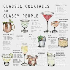 20 of the Best Two-Ingredient Cocktails - Infographic of easy cocktail recipes Prosecco Cocktails, Classic Cocktails, Cocktail Drinks, Paloma Cocktail, Simple Cocktail Recipes, Bacardi Drinks, Vintage Cocktails, Popular Cocktails, Bourbon Drinks
