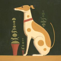'Topiary Dog' By Painter Catriona Hall. Blank Art Cards By Green Pebble. www.greenpebble.co.uk