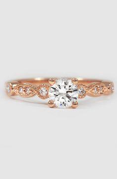 PERFECTION. 14K Rose Gold Tiara Diamond Ring