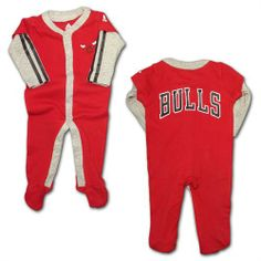 Baby Bulls Layered Sleeve Coverall  Chicago  Bulls  Baby  Infant  Coverall   2e8927564