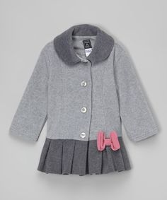Loving this Heather Gray Bow Pleated Coat - Infant, Toddler & Girls on #zulily! #zulilyfinds