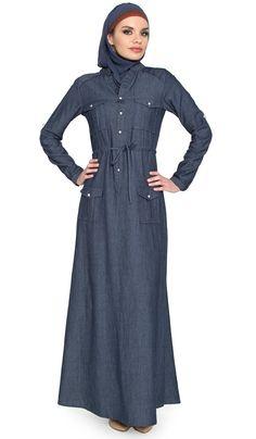 Zia Chambray Denim Safari Maxi Dress Abaya with Free Hijab