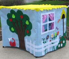 Adorable playhouses made to fit a card table.  Enter to win one at party-wagon.com