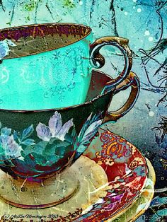 """Turquoise and Black"" from artist AlyZen Moonshadow, who creates all of her artwork on mobile phones. See more of her amazing portfolio on www.ArtsyShark.com"