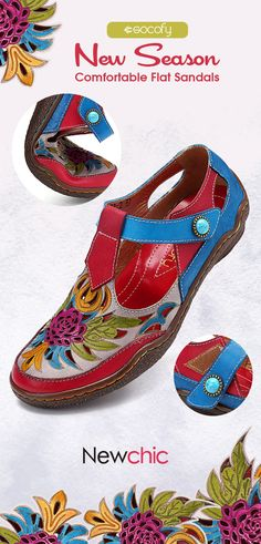 47f805cbbe1 off SOCOFY Soft Genuine Leather Splicing Retro Hollow Flowers Hook Loop  Comfortable Flat Sandals.