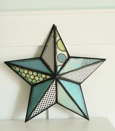 MOD PODGE STAR TUTORIAL      Okay, here is what you do. First buy one of those giant metal stars. Spray paint it black.                                        Make a pattern out of card stock the size of each of the angles. It will always be the same shape, you just have to flip it over for every other angle of the star. You know the dr