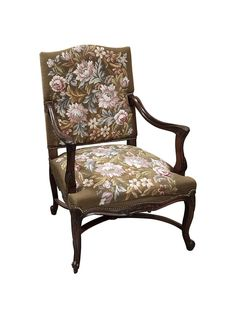 Regarding this particular Antique French Armchair (fauteuil en Francaise), few appreciate the intricate style and engineering required in constructing such a handsome piece as this, and fewer still the enduring tapestry!  || TheHighBoy || #highboystyle #antiquesmakeitbetter #antiques #vintage