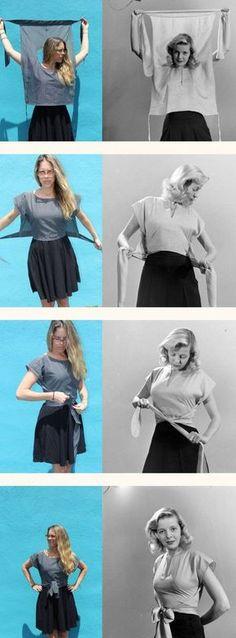 awesome Retro Inspired Wrap Shirt Tutorial Hart's Fabric Make with Japanese style pants Wrap Shirt, Diy Shirt, T Shirt Refashion, Diy Clothes Refashion, Diy Clothing Upcycle, Shirt Dress Diy, Wrap Pants, Dress Pants, Tee Shirts