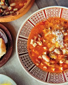 """You might just call this """"pasta fagioli,"""" but Italians would never drop the """"e"""" in this hearty soup made with pasta, cranberry beans, and vegetables."""