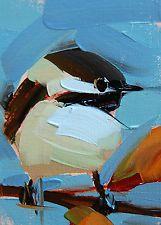 Chickadee no. 710 original bird oil painting by Angela Moulton ACEO