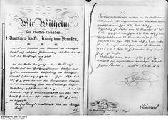 60 Jahre Deutsches Reich! Am 18. Januar wurden es 60 Jahre, dass das Deutsche Reich in Versailles proklamiert wurde. Durch die Verfassung vom 16. April 1871 wurde die Proklamation des Deutschen Reiches rechtskräftig und die Regierungsgewalt über die Vereinigten deutschen Bundesstaaten vom deutschen Reichstag ausgeübt.  Die erste und letzte Seite der Reichsgründungs-Verfassung vom 16. April 1871 mit der eigenhändigen Unterschrift des damaligen deutschen Kaisers Wilhelm I.