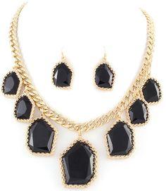 Black/Gold Necklace & Earring Set