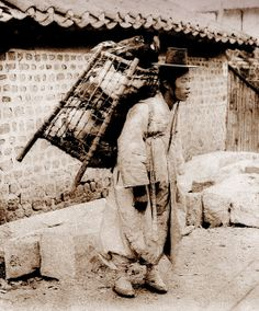 OLD KOREA - LAND OF THE MORNING CALM -- The Chicken Seller, SEOUL