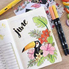 Amazing Bullet Journal Monthly Cover Ideas For Summer Bookstagram layout ideas - Lucie Wegmann - Bullet Journal Month, Car Boot Sale, Lettering Tutorial, All Vegetables, Journal Layout, Potpourri, Journal Inspiration, Pet Birds, Mother Nature