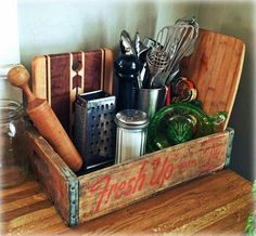 Old soda crate used as a countertop organizer crateBed crateCoffeeTable crateDog crateFood crateFurniture crateGarden crateOutdoor cratePallet crateTrainingPuppy crateWine is part of Countertop organization - Old Coke Crates, Coke Crate Ideas, Vintage Crates, Wooden Crates, Vintage Decor, Vintage Kitchen Decor, Wine Crates, Primitive Kitchen, Farmhouse Kitchen Decor